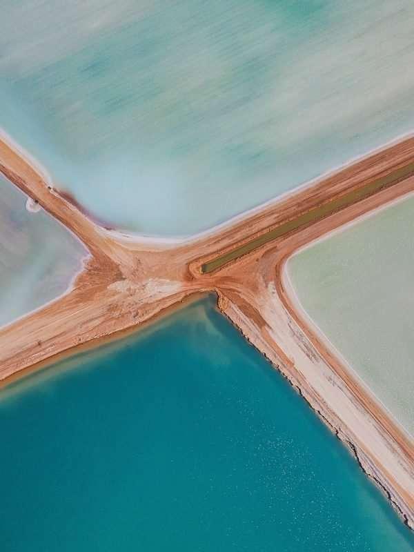 evaporation ponds in Shark Bay, Australia