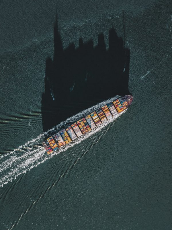 Cargo ship with shadow Netherlands