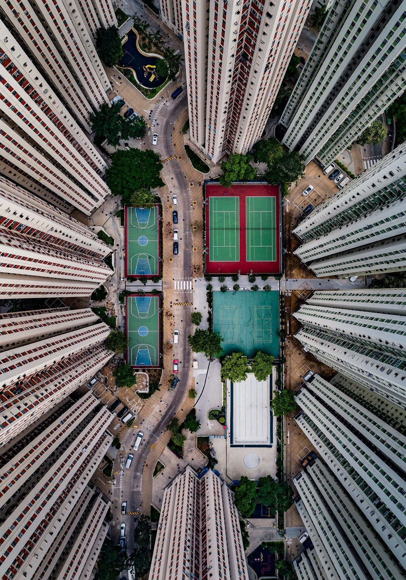 Tennis courts within buildings in Hong Kong