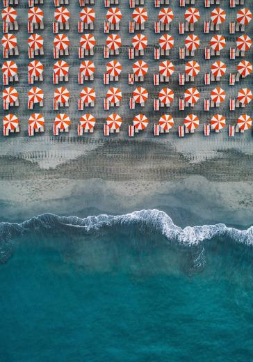 Beach umbrellas italy