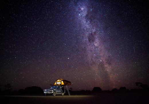 Campsite and milkyway in the outback Australia