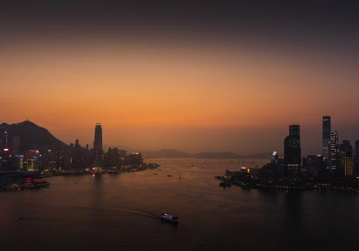 Hong Kong bay at sunset